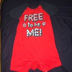 Free To Be Me onesie shirt, never been worn.